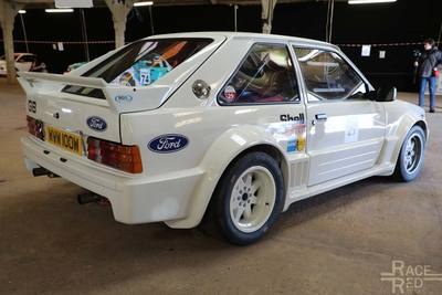 Ford Escort 1700T rally car at Race Retro. 320bhp 1.8 l turbo engine, RWD and a MkIII body.